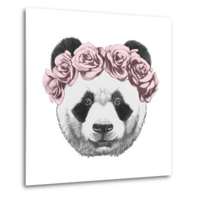 Original Drawing of Panda with Roses. Isolated on White Background-victoria_novak-Metal Print