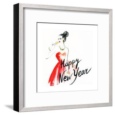 Woman with Glass of Champagne. Christmas and New Year Holiday Celebration. Watercolor Illustration-Anna Ismagilova-Framed Art Print