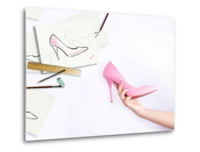 Female Hand Holding Shoe-Anna Ismagilova-Metal Print
