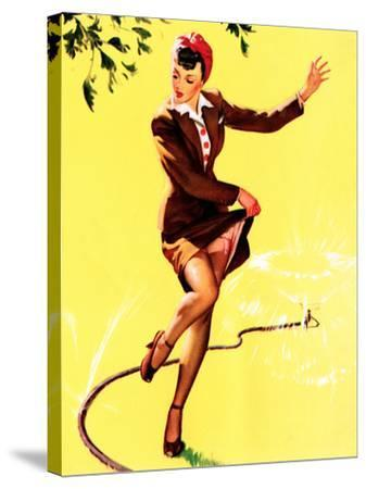 What a Break Pin-Up 1944-Gil Elvgren-Stretched Canvas Print