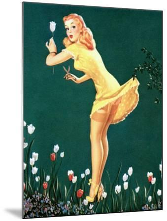 Boughed Beauty Pin-Up Picking Tulips c1940s-Al Leslie-Mounted Art Print