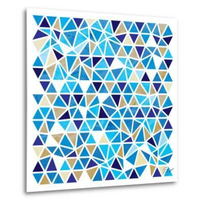 Triangles - Blue and Beige-Dominique Vari-Metal Print