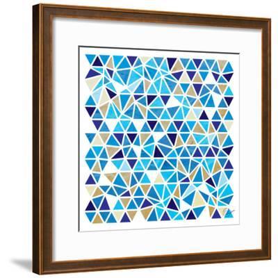 Triangles - Blue and Beige-Dominique Vari-Framed Art Print