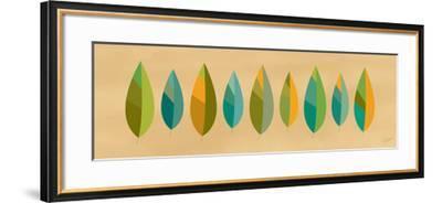 Leaf Line - Blue and Green on Natural-Dominique Vari-Framed Art Print