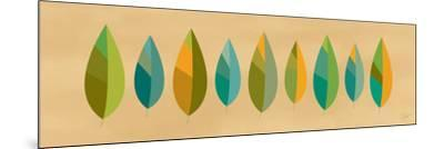 Leaf Line - Blue and Green on Natural-Dominique Vari-Mounted Art Print
