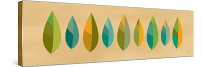 Leaf Line - Blue and Green on Natural-Dominique Vari-Stretched Canvas Print