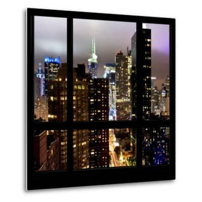 View from the Window - Manhattan Skyline by Night-Philippe Hugonnard-Metal Print