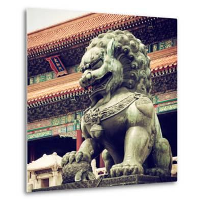 China 10MKm2 Collection - Bronze Chinese Lion in Forbidden City-Philippe Hugonnard-Metal Print