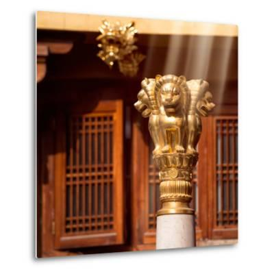 China 10MKm2 Collection - Golden Chinese Lion Statue Jing An Temple - Shanghai-Philippe Hugonnard-Metal Print