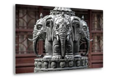 China 10MKm2 Collection - Detail Buddhist Temple - Elephant Statue-Philippe Hugonnard-Metal Print