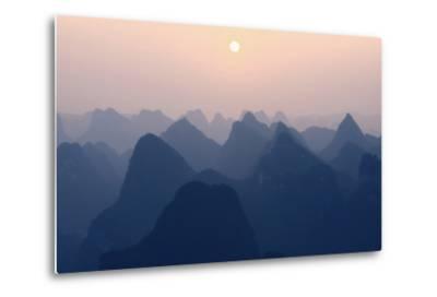 China 10MKm2 Collection - Karst Mountains at Pastel Sunset - Yangshuo-Philippe Hugonnard-Metal Print