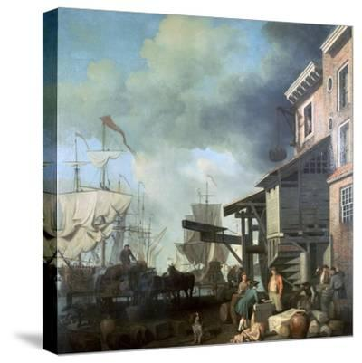 Painting of Old Custom House Quay, 18th Century-Samuel Scott-Stretched Canvas Print