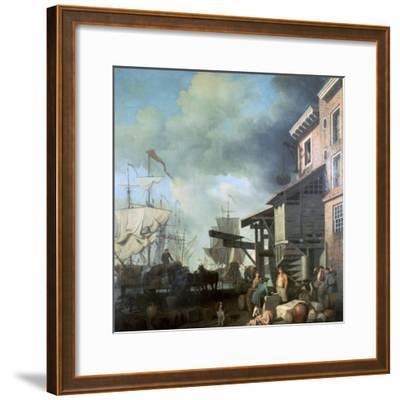 Painting of Old Custom House Quay, 18th Century-Samuel Scott-Framed Giclee Print