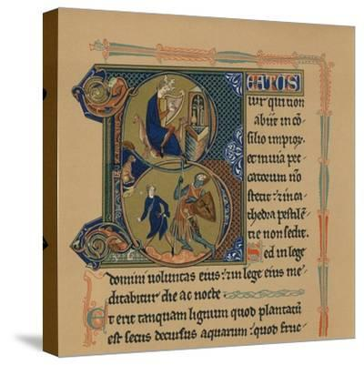 Miniature Initial and Part of a Page from a Psalter, (13th Century), 1901--Stretched Canvas Print