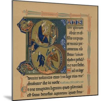 Miniature Initial and Part of a Page from a Psalter, (13th Century), 1901--Mounted Giclee Print