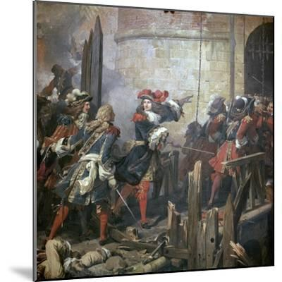Louis XIV Leads the Assault of Valenciennes, 17th Century-Jean Alaux-Mounted Giclee Print
