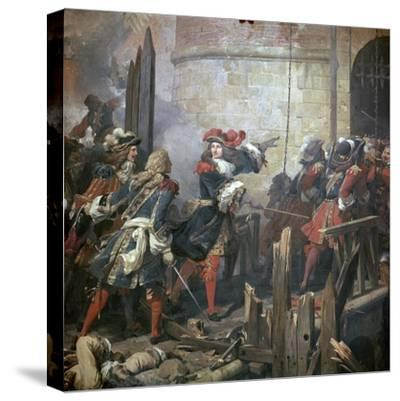 Louis XIV Leads the Assault of Valenciennes, 17th Century-Jean Alaux-Stretched Canvas Print