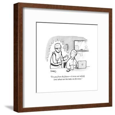"""""""I'm you from the future?it turns out nobody cares about our hot takes on ?"""" - Cartoon-Benjamin Schwartz-Framed Premium Giclee Print"""