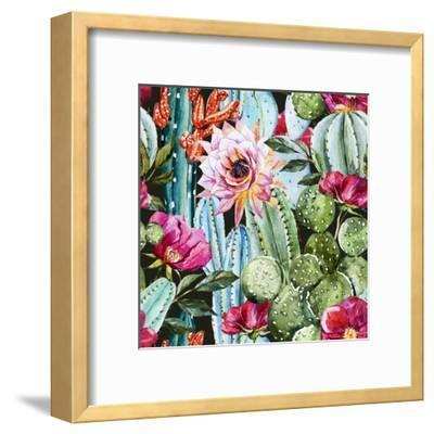 Watercolor Cactus Pattern-Zenina-Framed Art Print