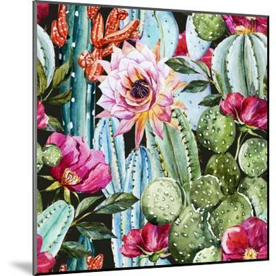 Watercolor Cactus Pattern-Zenina-Mounted Art Print