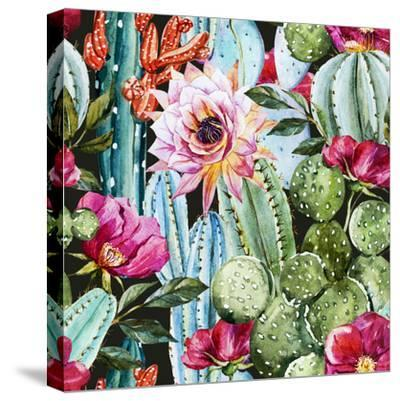 Watercolor Cactus Pattern-Zenina-Stretched Canvas Print