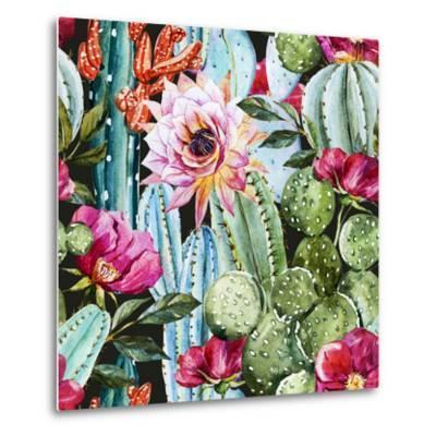 Watercolor Cactus Pattern-Zenina-Metal Print