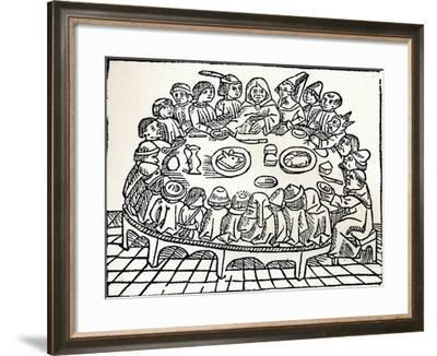 The Canterbury Pilgrims Sitting Down for a Shared Meal, 1485-William Caxton-Framed Giclee Print