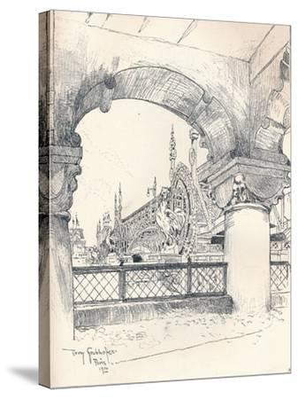 Colonnade Near the Pont Des Invalides, C1900-Tony Grubhofer-Stretched Canvas Print
