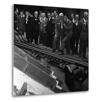 Inspecting a Tram Junction, Made at the Edgar Allen Steel Foundry, Meadowhall, Sheffield, 1962-Michael Walters-Metal Print