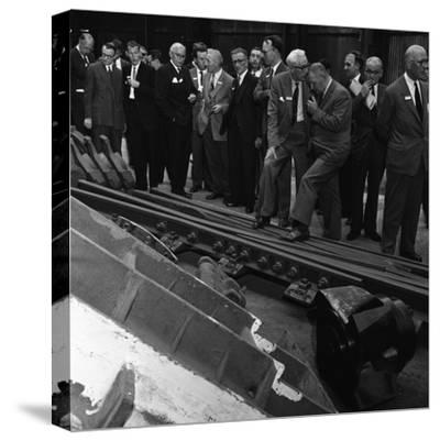 Inspecting a Tram Junction, Made at the Edgar Allen Steel Foundry, Meadowhall, Sheffield, 1962-Michael Walters-Stretched Canvas Print