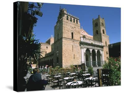 Cathedral and Cafe, Monreale, Sicily, Italy-Peter Thompson-Stretched Canvas Print