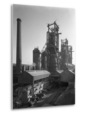 Molten Steel Being Poured into Rail Trucks at the Stanton Steelworks, Ilkeston, Derbyshire, 1962-Michael Walters-Metal Print