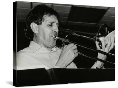 Trombonist Derek Wadsworth Playing at the Fairway, Welwyn Garden City, Hertfordshire, 28 July 1991-Denis Williams-Stretched Canvas Print