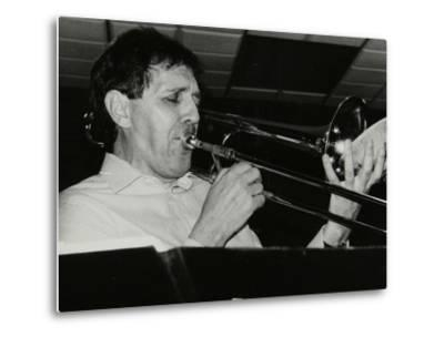 Trombonist Derek Wadsworth Playing at the Fairway, Welwyn Garden City, Hertfordshire, 28 July 1991-Denis Williams-Metal Print