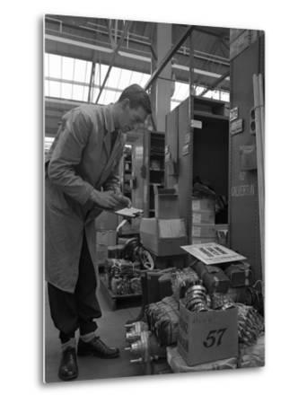 Warehouseman Checking Stock in the Stores at Bestwood Colliery, North Nottinghamshire, 1962-Michael Walters-Metal Print