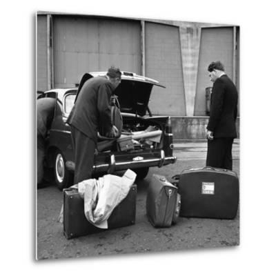 A 1961 Austin Westminster Being Loaded with Luggage on Amsterdam Docks, Netherlands 1963-Michael Walters-Metal Print