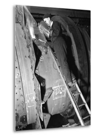 Welding an Industrial Drying Unit, Edgar Allen Steel Co, Sheffield, South Yorkshire, 1962-Michael Walters-Metal Print