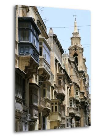 Balconies, St Pauls Street, Valletta, Malta-Peter Thompson-Metal Print