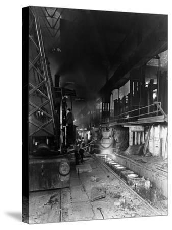 Teeming (Pouring) Molten Steel, Park Gate Iron and Steel Co, Rotherham, South Yorkshire, April 1955-Michael Walters-Stretched Canvas Print