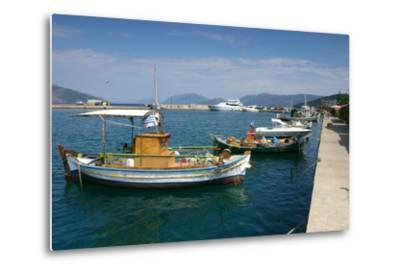 Fishing Boats Moored Alongside the Quay, Sami, Kefalonia, Greece-Peter Thompson-Metal Print