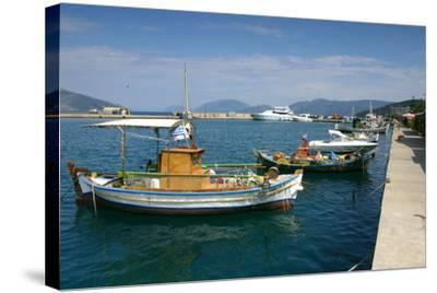 Fishing Boats Moored Alongside the Quay, Sami, Kefalonia, Greece-Peter Thompson-Stretched Canvas Print