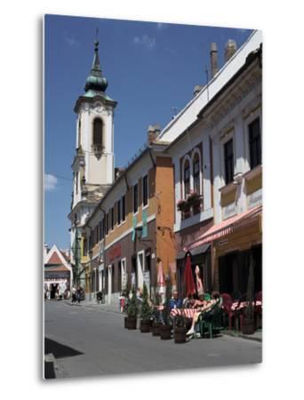 Café and Church, Szentendre, Hungary-Peter Thompson-Metal Print