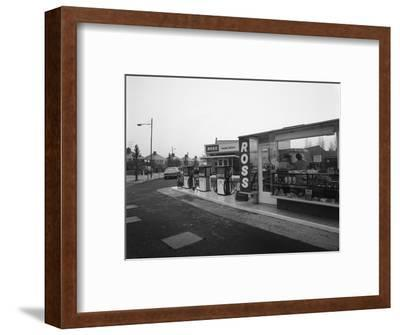 A Petrol Station Forecourt, Grimsby, Lincolnshire, 1965-Michael Walters-Framed Premium Photographic Print