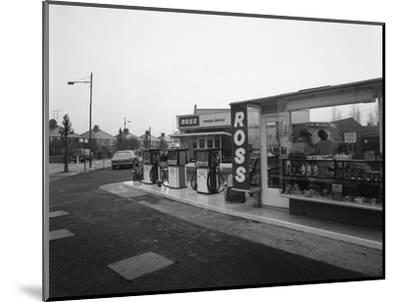 A Petrol Station Forecourt, Grimsby, Lincolnshire, 1965-Michael Walters-Mounted Premium Photographic Print