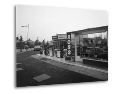 A Petrol Station Forecourt, Grimsby, Lincolnshire, 1965-Michael Walters-Metal Print