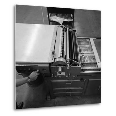 A Proofing Press with Plates at the White Rose Press, Mexborough, South Yorkshire, 1968-Michael Walters-Metal Print