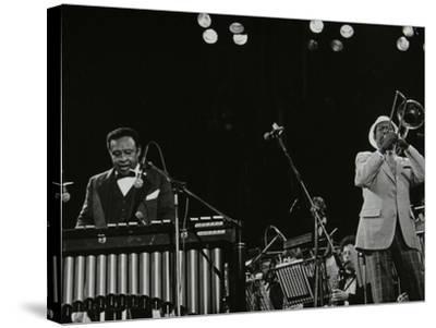 Lionel Hampton (Vibraphone) and Al Grey (Trombone) on Stage at Knebworth, Hertfordshire, July 1982-Denis Williams-Stretched Canvas Print