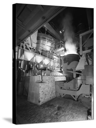 Steel Pour from an Electric Arc Furnace, Park Gate Iron and Steel Co, Rotherham, Yorkshire, 1964-Michael Walters-Stretched Canvas Print