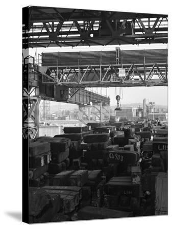 Eectromagnet Above Steel Ingots, Park Gate Iron and Steel Co, Rotherham, South Yorkshire, 1964-Michael Walters-Stretched Canvas Print
