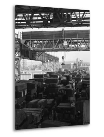 Eectromagnet Above Steel Ingots, Park Gate Iron and Steel Co, Rotherham, South Yorkshire, 1964-Michael Walters-Metal Print